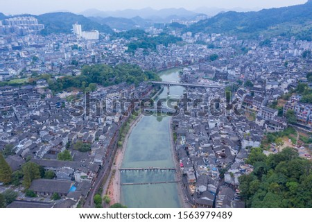 Aerial Image of Beautiful scenery of Fenghuang ancient town The most famous Chinese tourist destination in Feng Huang Ancient Town (Phoenix Ancient Town), Hunan, China