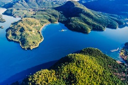 Aerial image of Blind Channel, West Thurlow Island, Desolation Sound, British Columbia, Canada