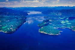 Aerial image of Discovery Passage, Inside Passage, BC, Canada