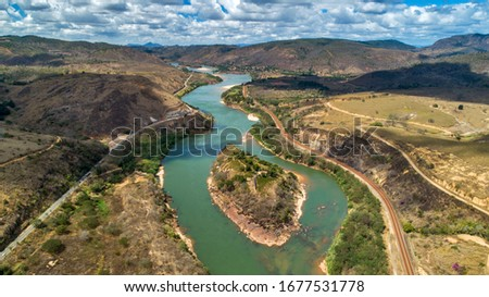 Aerial image of Doce River. Atlantic Forest Biome. Picture made in 2018. Foto stock ©
