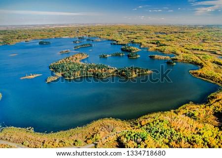 Aerial image of Elk Island Park, Alberta, Canada
