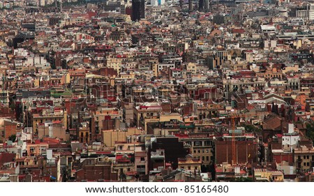 Aerial image of extremely crowded buildings in a big European city (Barcelona,Spain).