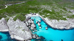 Aerial image of Green Pools and Elephant Rocks beach on Great Southern Ocean in Denmark, Western Australia.