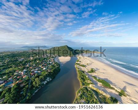 Aerial image of Guarda do Embaú Beach located in the state of Santa Catarina, Brazil Foto stock ©