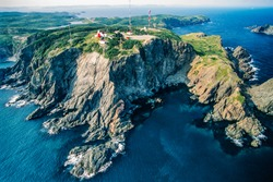 Aerial image of historic Long Point Lighthouse,  Twillingate, Newfoundland, Canada