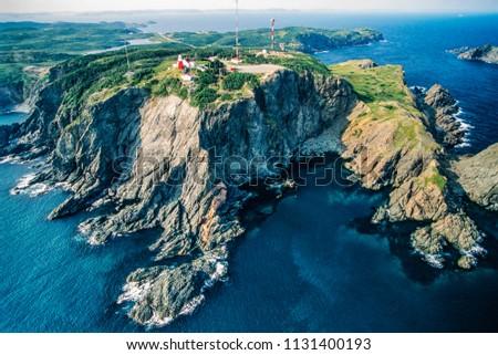 Aerial image of historic Long Point Lighthouse,  Twillingate, Newfoundland, Canada