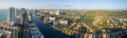 Aerial image of Hollywood Lakes and Beach Florida, USA