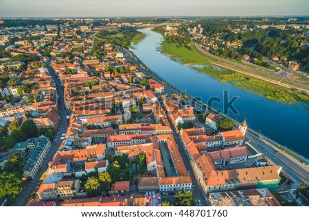 Aerial image of Kaunas city, Lithuania. Summer sunset scene.
