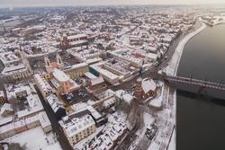 Aerial image of Kaunas city, Lithuania. Winter scene.