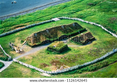 Aerial image of L'Anse aux Meadows, Newfoundland, Canada