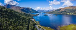 aerial image of loch linnhe in summer near duror and ballachulish and glencoe in the argyll region of the highlands of scotland showing blue water and green fertile coast line