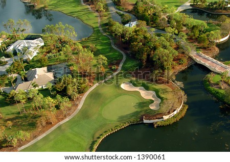 aerial image of luxurious golf residential community in southwest Florida