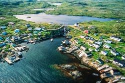 Aerial image of now abandoned Grand Bruit, Newfoundland, Canada