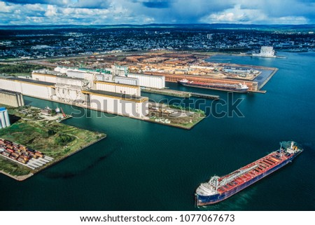 Aerial image of Port of Thunder Bay, Ontario, Canada