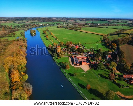 Aerial image of river Thames at Henley on Thames