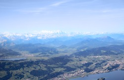 Aerial image of Swiss Alps