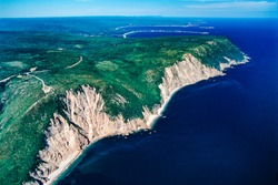 Aerial image of the Cabot Trail, Cape Breton Island, Nova Scotia, Canada