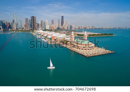 Aerial image of the Navy Pier Chicago IL USA #704672698