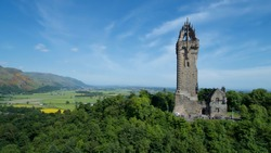 Aerial image of the Wallace Monument on Abbey Craig in Scotland.