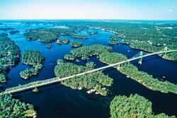 Aerial image of Thousand Islands, Ontario, Canada