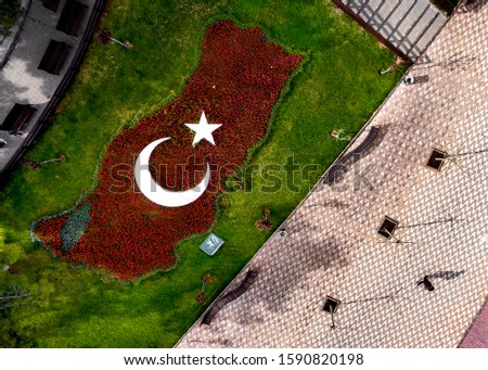 aerial image of turkish flag made of tulips. Youth and sport day in Turkey Stok fotoğraf ©