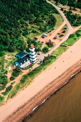 Aerial image of West Point Lighthouse, PEI, Canada