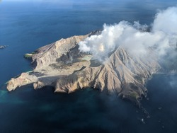 aerial image of White Island whakaari active volcano after eruption in eastern bay of plenty whakatane New Zealand