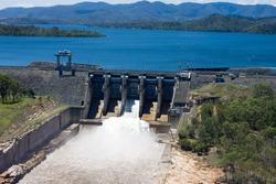 Aerial image of Wivenhoe Dam near Brisbane releasing water from it's spillway.