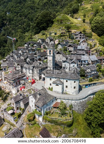 Aerial image with drone of the mountain village Corippo - the smallest commune in Canton Ticino, Switzerland Photo stock ©