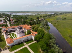 Aerial image with the comana monastery,giurgiu county-romania