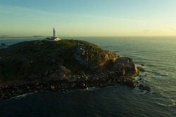 Aerial images of Santa Marta Lighthouse one of the most important in Brazil. Beautiful landscapes of Santa Catarina.