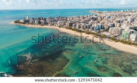 Aerial images of the beach of Maceió Alagoas