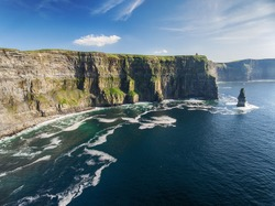 Aerial Ireland countryside tourist attraction in County Clare. The Cliffs of Moher and Burren Ireland. Epic Irish Landscape Seascape along the wild atlantic way. UNESCO Global Geopark