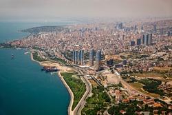 Aerial Istanbul Maltepe shore Turkey