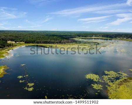 Aerial. Lake in Keystone Heights Florida Flying a drone over the lake. Keystone Heights Florida.