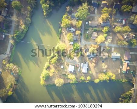 aerial lakeside suburban area...