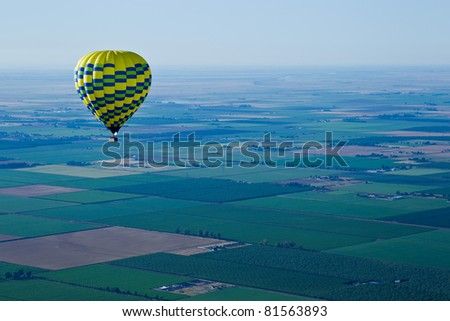 Aerial landscape of Sacramento Valley: view from hot air balloon above the valley, California, USA.