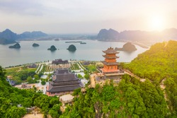 Aerial landscape of Tam Chuc pagoda: The world largest pagoda located in Ha Nam province of Vietnam. Travel and religious concept