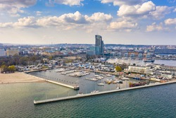Aerial landscape of the beach at Baltic Sea in Gdynia, Poland.