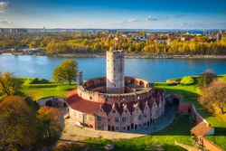 Aerial landscape of the Wisloujscie fortress in autumnal scenery, Gdansk. Poland.