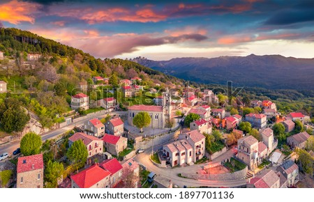 Aerial landscape photography. Wonderful morning view from flying drone of Zonza town, commune in the Corse-du-Sud department of France. Stunning sunrise on Corsica island, France, Europe.