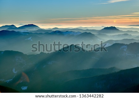 Aerial Landscape view from Ceahlău Mountains National Park at sunset in winter season,Sunset in Ceahlau Mountains #1363442282