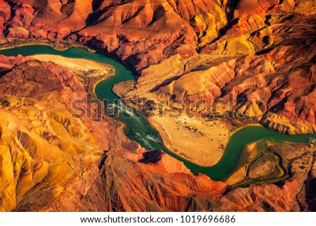Aerial landscape view of Colorado river in Grand canyon, Arizona, USA #1019696686