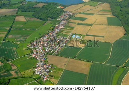 aerial landscape, view of Leiberstung Sinzheim near Baden-Baden in Baden Germany #142964137