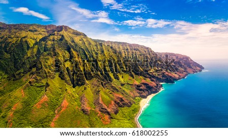 Aerial landscape view of spectacular Na Pali coast, Kauai, Hawaii, USA