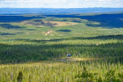 Aerial landscape view with Fulufjallet national parks visitor center  in Sweden