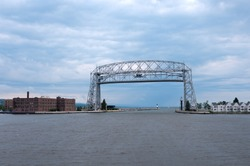 Aerial lift bridge in Superior Bay of Duluth Minnesota