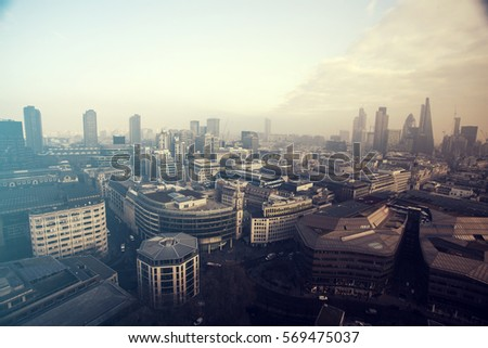 aerial london view on a foggy...