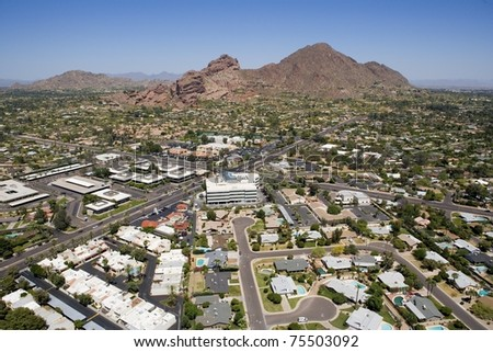 Aerial look at Camelback Mountain in Phoenix, Arizona