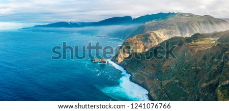 Aerial Madeira island view with Atlantic ocean, white waves, cliffs and green nature #1241076766